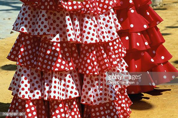 Spain, Andalucia, Seville, red and white polka dot dresses