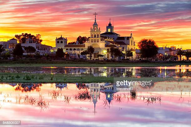 Spain, Andalusia, Huelva province, Donana National Park, El Rocio village and church at dusk