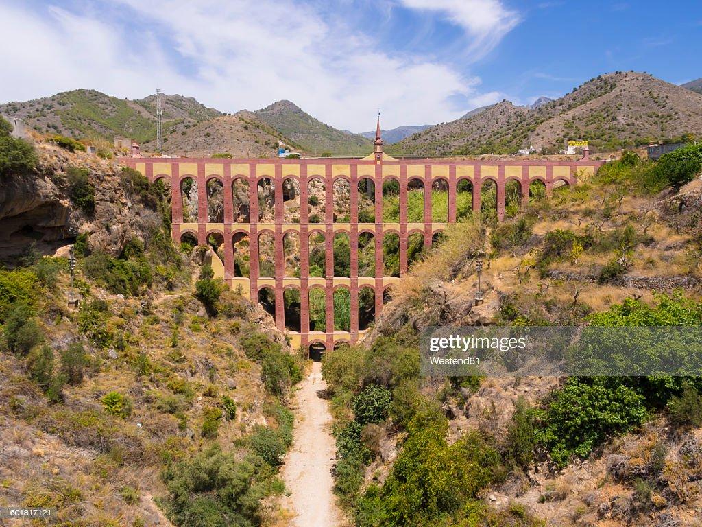 spain andalusia nerja roman aqueduct acueducto del aguila stock