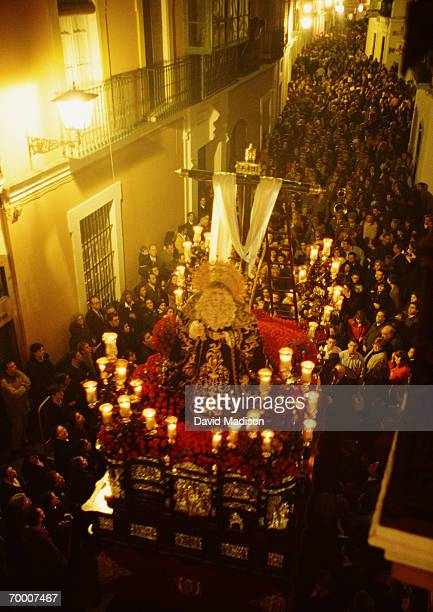 Spain, Andalusia, Seville, Easter procession at night