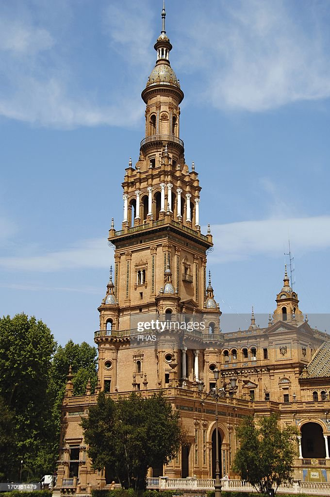 Spain. Andalusia. Seville. Spain's Square. Located in the Maria Luisa Park. Built in 1928 for the Ibero-American Exposition of 1929 according to the project of Spanish architect Anibal Gonzalez (1876-1929). North Tower.