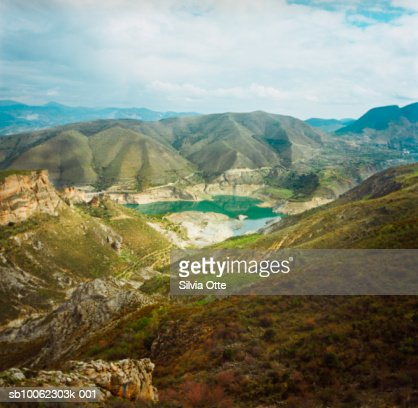 Spain, Andalusia, Sierra Nevada, lake, elevated view