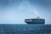 Spain, Andalusia, Tarifa, Cargo ship