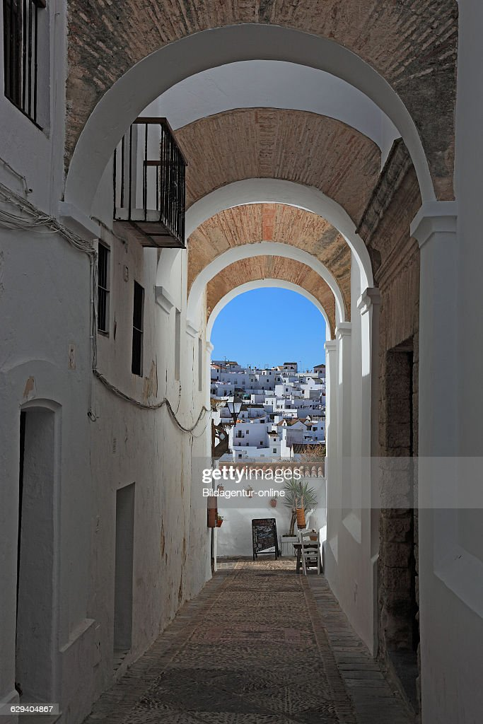 Spain Andalusia Vejer de la frontera white village in Cadiz province view to the Diaphragm arches at the church Divino Salvador