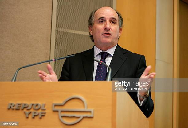 Antonio Brufau Chairman of Spanish petroleum giant Repsol YPF speaks at a press conference in Madrid 26 January 2006 Brufau announced Thursday a...