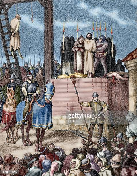 Spain Aragon Reign of Philip II New tortures in Zaragoza during the occupation by Castilian troops Colored engraving 19th century