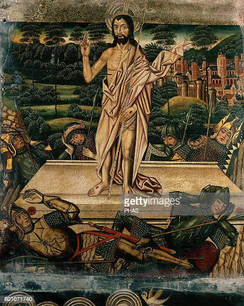 Spain Aragon Tarazona Altarpiece of chapel of the Purificacion Nuestra senora de la Huerta Cathedral Resurrection of Christ by Spanish painter Martin...