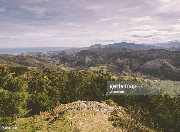 Spain, Asturias, view of Picos de Europa mountains from Mirador del Fito