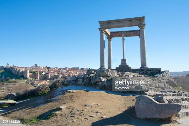 Spain, Avila, view to the city with fortified wall around and archeological site in the foreground