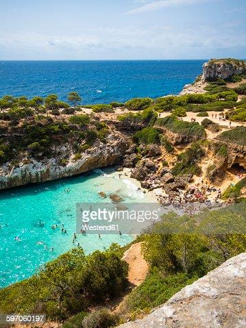 Spain, Baleares, Mallorca, View of bay Calo des Moro
