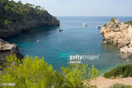Spain, Balearic Islands, Majorca, Cala de Deia coast, elevated view : Stock Photo