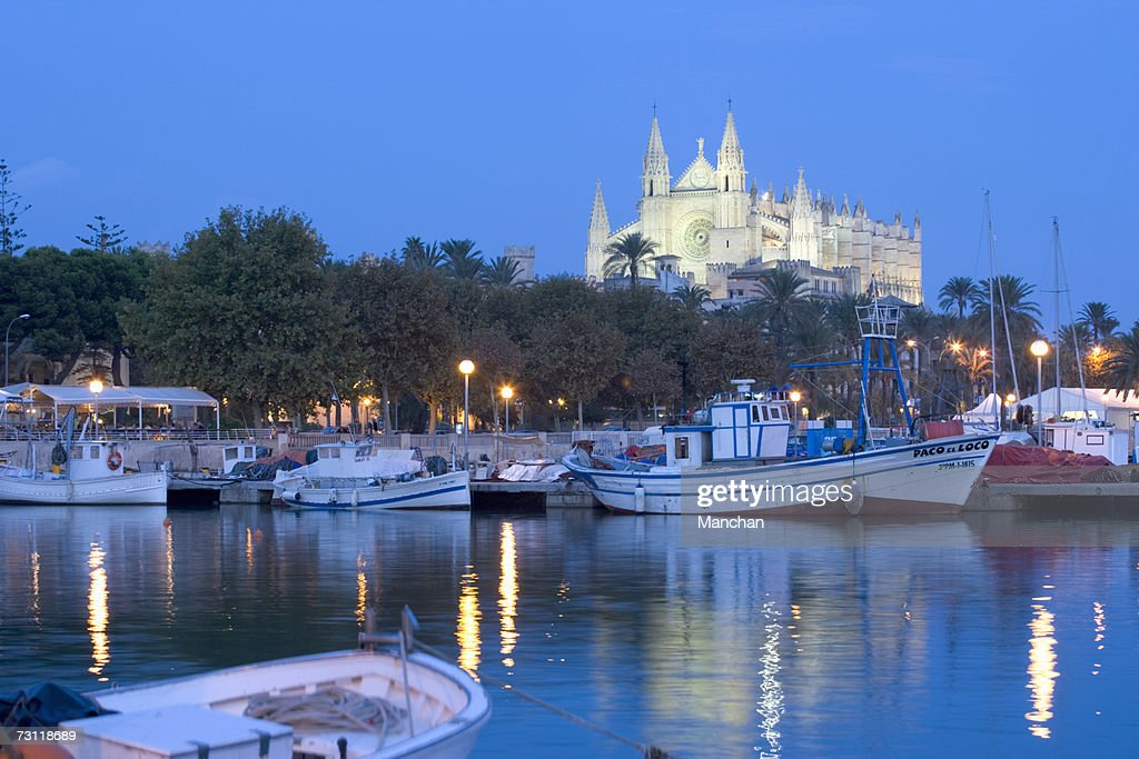 Spain, Balearic Islands, Majorca, Palma Cathedral and harbour : Stock Photo