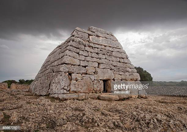 Spain, Balearic Islands, Menorca, Ciutadella, megalithic chamber tomb Naveta des Tudons