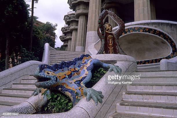 Spain Barcelona Park Guell Main Steps Dragon Statue
