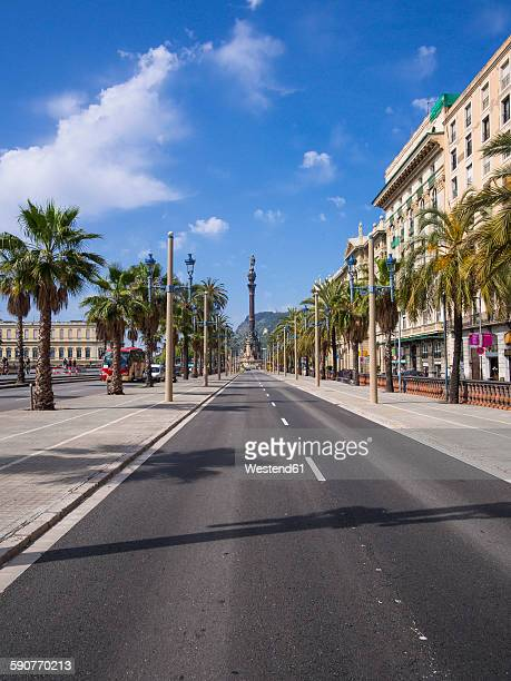Spain, Barcelona, Passeig de Colom with view to Columbus column
