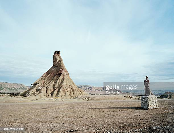 Spain, Bardenas Hill, monument and rock formations
