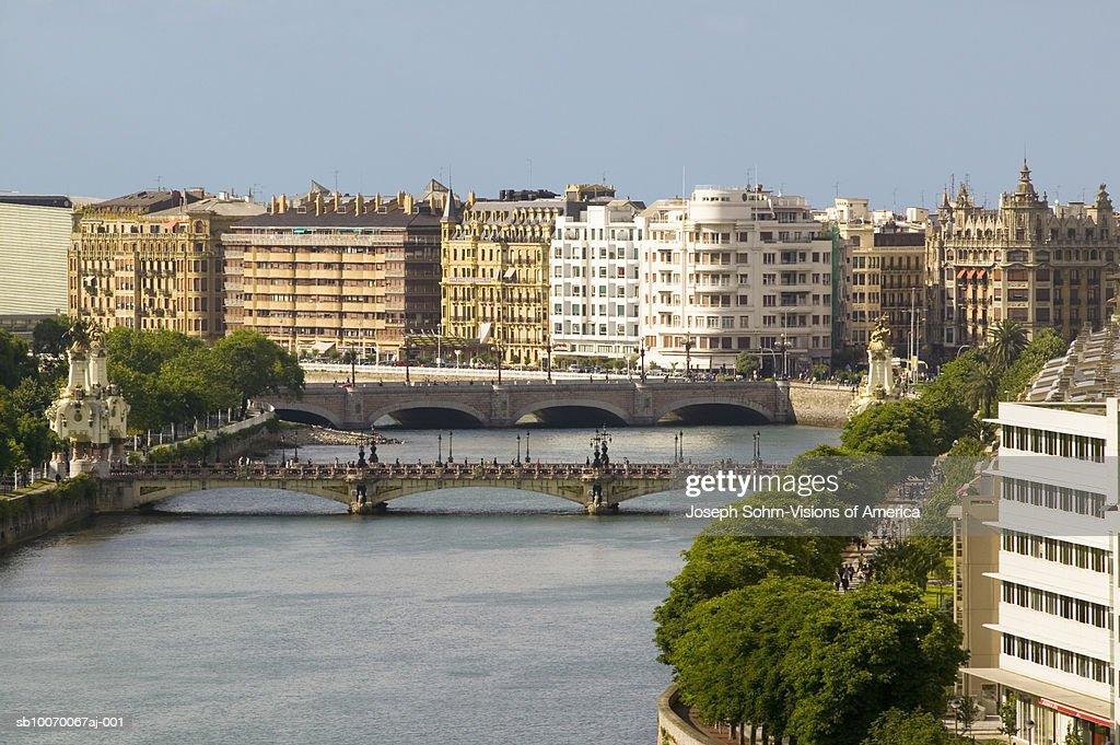 Spain, Basque Country, San Sebastian-Donostia with river of Urumea and Maria Cristina Bridge : Stock Photo