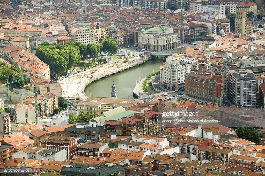 Spain, Biscay, Bilbao and river Ibaizabal, aerial view : Stock Photo