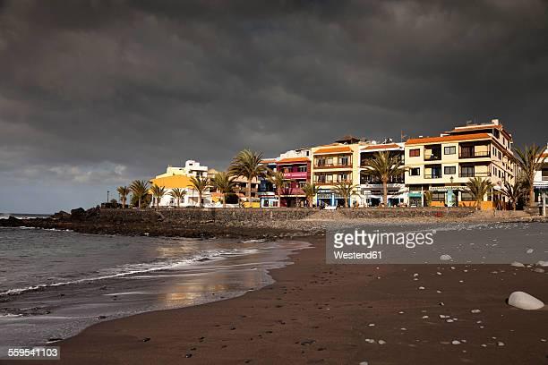 Spain, Canary Islands, La Gomera, Valle Gran Rey, black beach Playa de La Calera and La Playa