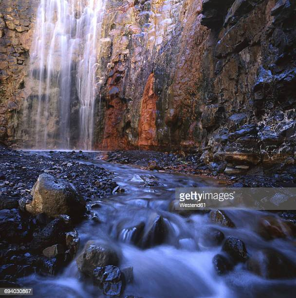 Spain, Canary Islands, La Palma, Caldera de Taburiente National Park, Cascada Colorada waterfall