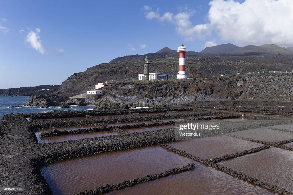 Spain, Canary Islands, La Palma, Fuencaliente, Saline, lighthouses and volcanoes Teneguia and San Antonio