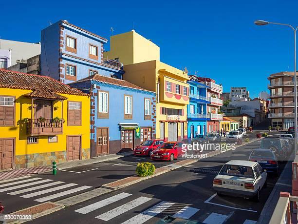 Spain, Canary Islands, La Palma, Puerto de Tazacorte, Colourful houses