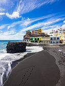 Spain, Canary Islands, La Palma, Puerto Naos, Black lava beach