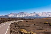 Spain, Canary Islands, Lanzarote, Tinajo, road through Timanfaya National Park
