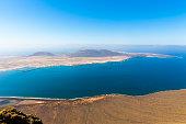 Spain, Canary Islands, Lanzarote, view on Island La Graciosa from Mirador del Rio