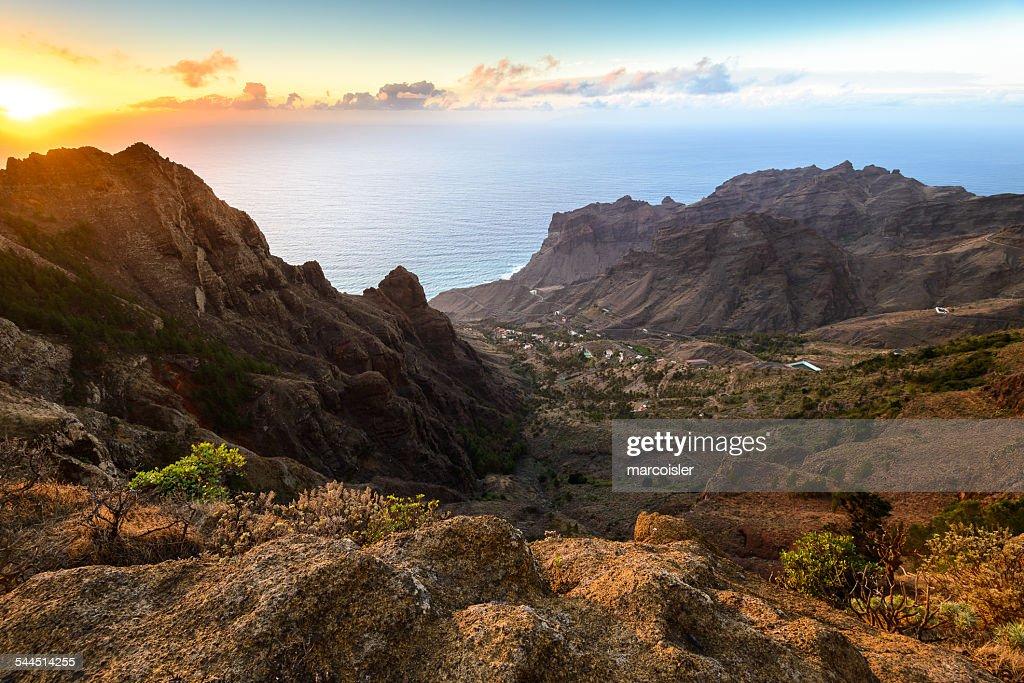 Spain, Canary Islands, Tagalushe, La Gomera at sunset