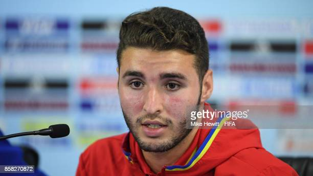 Spain captain Abel Ruiz faces the media during a Spain press conference at the Jawaharlal Nehru International Stadium ahead of the FIFA U17 World Cup...