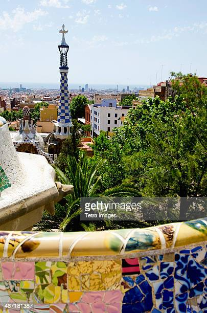 Spain, Catalonia, Barcelona, View of Park Guell