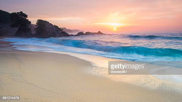 Spain, Catalonia, Blanes, Costa Brava at sunset
