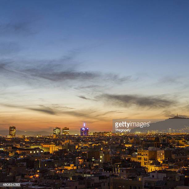 Spain, Catalunya, Barcelona, Cityscape at night