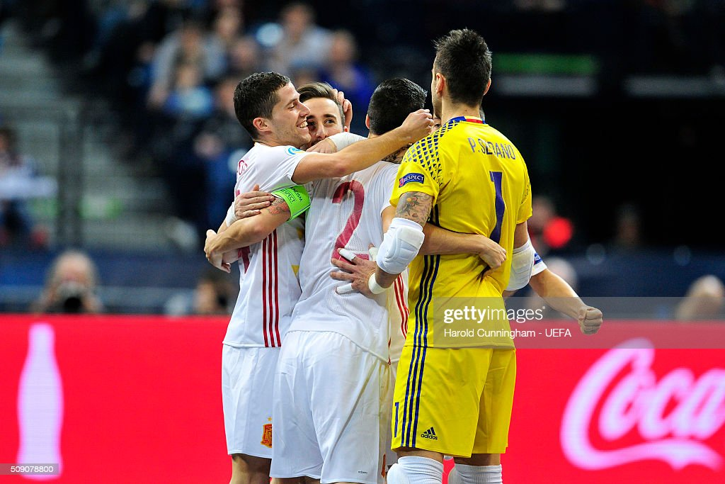 Spain celebrate a goal during the UEFA Futsal EURO 2016 quarter final match between Portugal and Spain at Arena Belgrade on February 8, 2016 in Belgrade, Serbia.