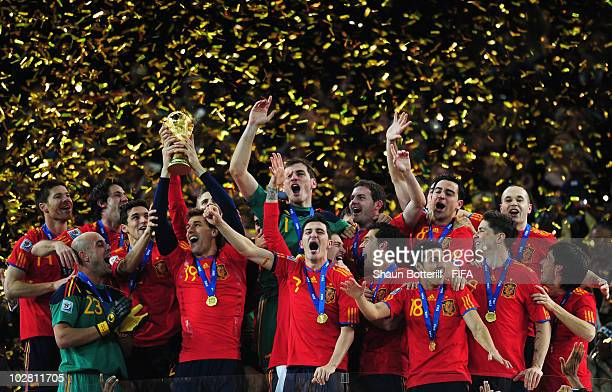 Spain celebrate winning the 2010 FIFA World Cup South Africa Final match between Netherlands and Spain at Soccer City Stadium on July 11 2010 in...