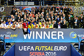Spain celebrate winning the UEFA Futsal EURO 2016 final between Russia and Spain at Arena Belgrade on February 13 2016 in Belgrade Serbia