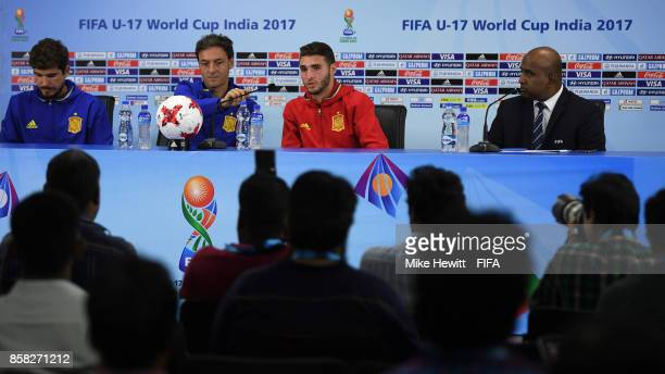 Spain coach Santi and captain Abel Ruiz face the media during a Spain press conference at the Jawaharlal Nehru International Stadium ahead of the...