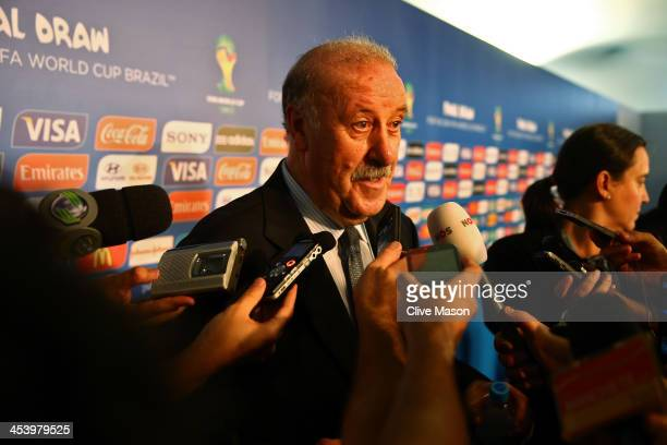 Spain coach Vicente del Bosque speaks to members of the media after the Final Draw for the 2014 FIFA World Cup Brazil at Costa do Sauipe Resort on...
