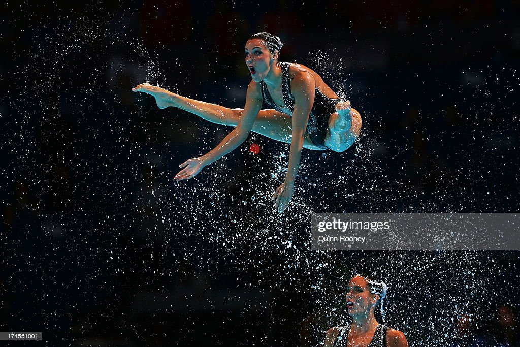 Spain compete during the Synchronized Swimming Free Combination Final on day eight of the 15th FINA World Championships at Palau Sant Jordi on July 27, 2013 in Barcelona, Spain.