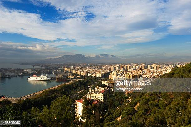 Spain Costa Del Sol Malaga Overview Of City With Port