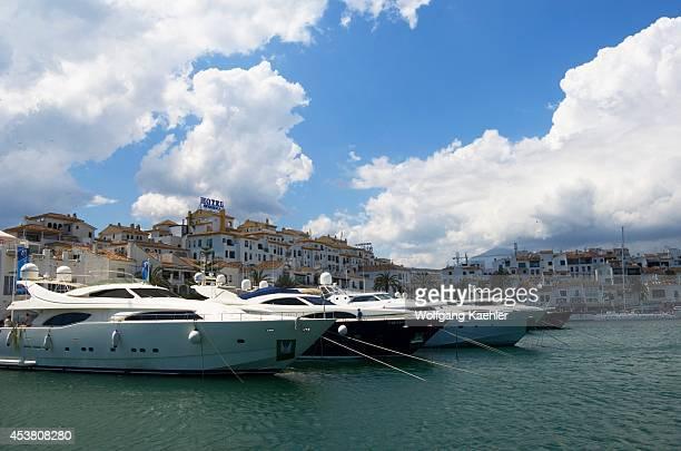 Spain Costa Del Sol Marbella Puerto Banus Marina With Fancy Yachts