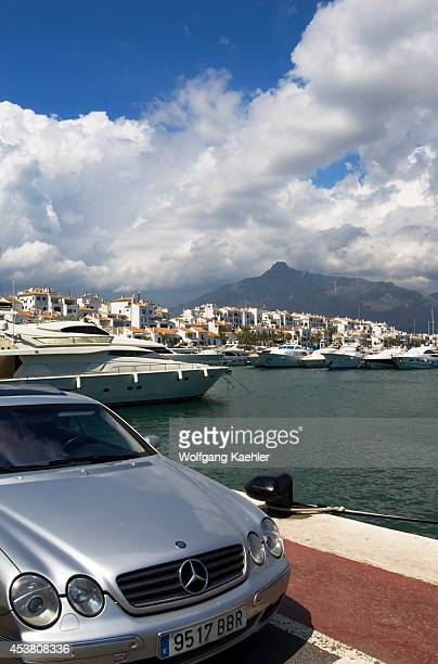 Spain Costa Del Sol Marbella Puerto Banus Marina With Fancy Yachts Mercedes Car