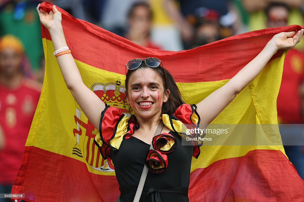 A Spain fan shows her support prior to the UEFA EURO 2016 round of 16 match between Italy and Spain at Stade de France on June 27, 2016 in Paris, France.