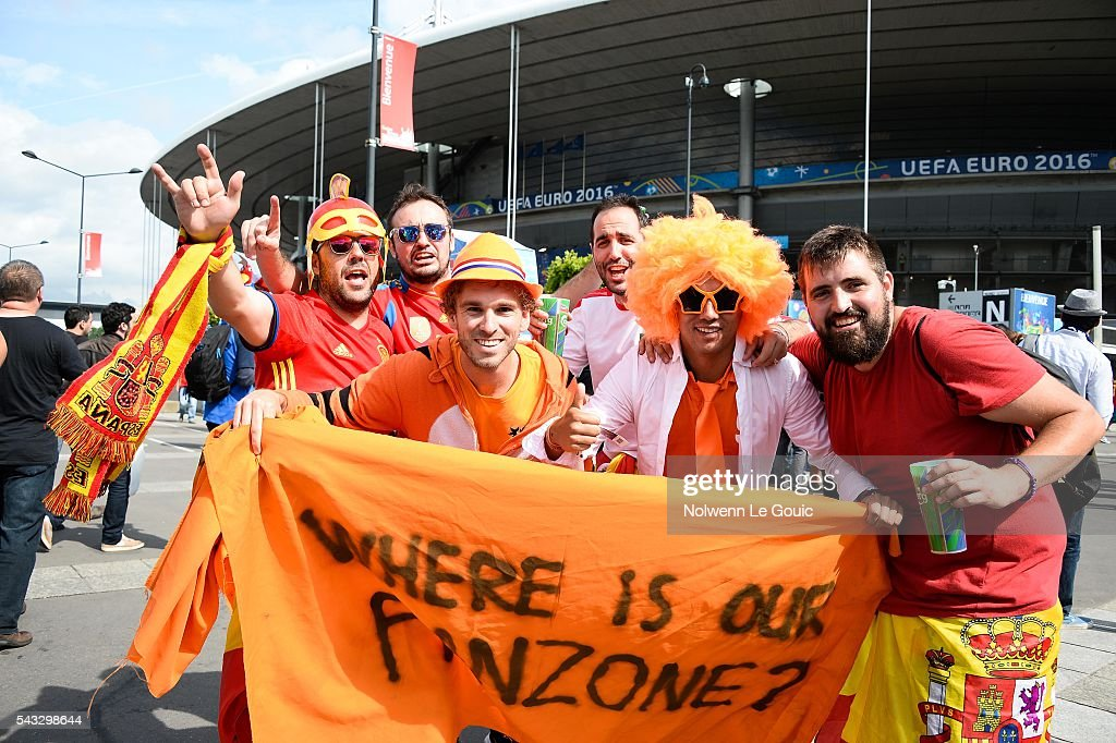 Spain fans and Netherlands fans during the European Championship match Round of 16 between Italy and Spain at Stade de France on June 27, 2016 in Paris, France.