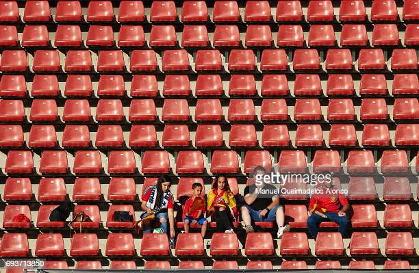 Spain fans are seen on the stand prior to the international friendly match between Spain and Colombia at Nueva Condomina Stadium on June 7 2017 in...