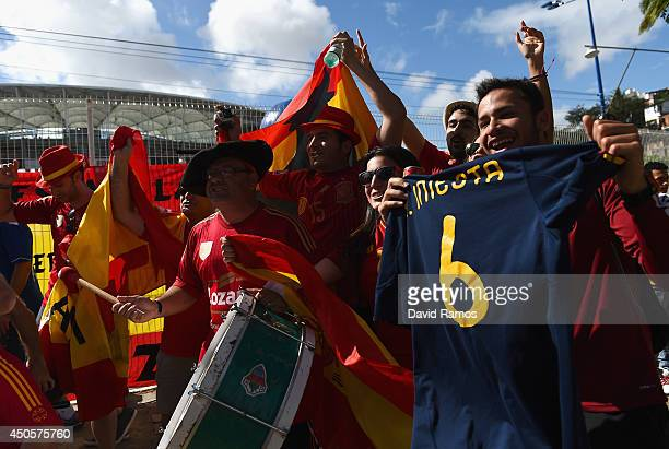 Spain fans enjoy the atmosphere prior to the 2014 FIFA World Cup Brazil Group B match between Spain and Netherlands at Arena Fonte Nova on June 13...
