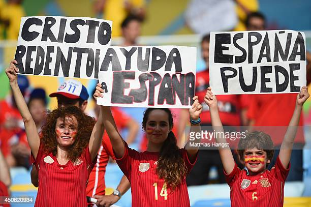 Spain fans enjoy the atmosphere prior to the 2014 FIFA World Cup Brazil Group B match between Spain and Chile at Maracana on June 18 2014 in Rio de...