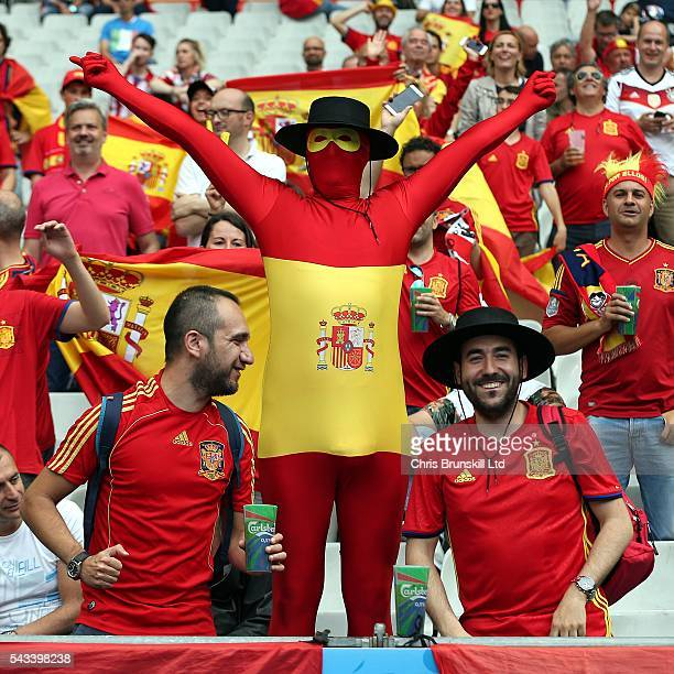 Spain fans look on during the UEFA Euro 2016 Round of 16 match between Italy and Spain at Stade de France on June 27 2016 in Paris France