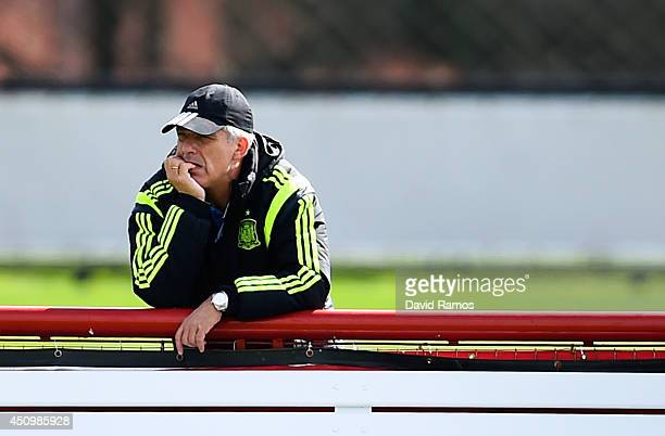 Spain Football Federation President Angel Maria Villar looks on during a Spain training session at Centro de Entrenamiento do Caju on June 21 2014 in...